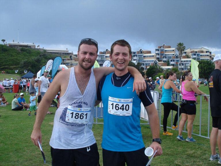 Kurt Moroney + A Mate, Finish, Hill-to-Harbour Charity Run Newcastle