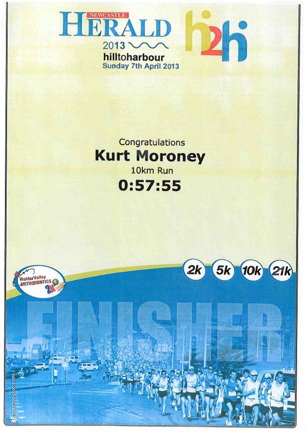 Kurt Moroney, Hill-to-Harbour Charity Run Newcastle